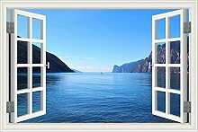 "3D Fenster, Wandtattoo Segelboot Seascape Vinyl Tapete Home Aufkleber, W0003, 32""""X48"