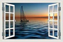 "3D Fenster, Wandtattoo Segelboot Seascape Vinyl Tapete Home Aufkleber, W0005, 28""""X40"