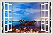 "3D Fenster, Wandtattoo Segelboot Seascape Vinyl Tapete Home Aufkleber, W0008, 32""""X48"