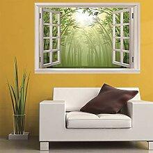 3D Fenster Wandtattoo Wandaufkleber bambus wald