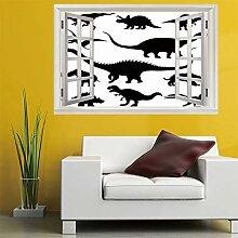 3D Fenster Wandtattoo Wandaufkleber Dinosaurier