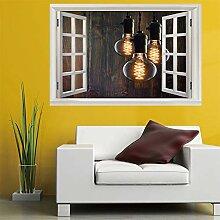 3D Fenster Wandtattoo Wandaufkleber Drei lampen