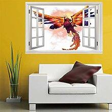 3D Fenster Wandtattoo Wandaufkleber flammenden