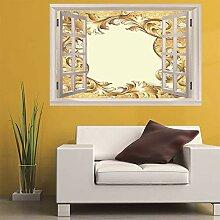 3D Fenster Wandtattoo Wandaufkleber Goldene blume