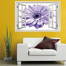 3D Fenster Wandtattoo Wandaufkleber Lila blume