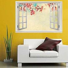 3D Fenster Wandtattoo Wandaufkleber pfirsichblüte