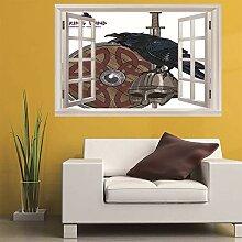3D Fenster Wandtattoo Wandaufkleber Raven helm
