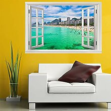 3D Fenster Wandtattoo Wandaufkleber Resort strand