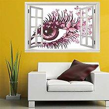 3D Fenster Wandtattoo Wandaufkleber Rosa