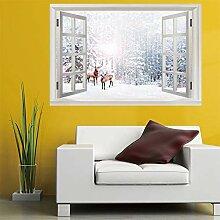 3D Fenster Wandtattoo Wandaufkleber schnee hirsch