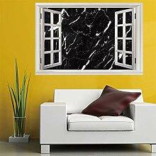 3D Fenster Wandtattoo Wandaufkleber Schwarz marmor