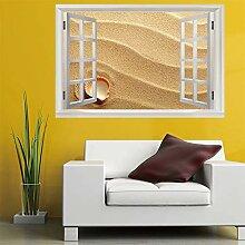 3D Fenster Wandtattoo Wandaufkleber Strand