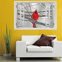3D Fenster Wandtattoo Wandaufkleber Winter roter