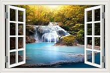 3D-Fenster Wasserfall Fluss Laker Wald natürliche