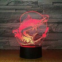 3D Fisch Optische Täuschungen Lampe 7 Farben