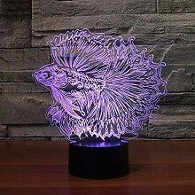 3D Fische Optische Illusions Lampe 7 Farben