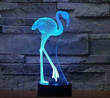3D flamingo Optische Illusions Lampe 7 Farben