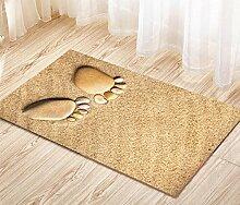 3D Flanell Wohnzimmer Fußabdruck Teppich Wasserdichte Beige Matten (mehr Größe) , 50*80cm