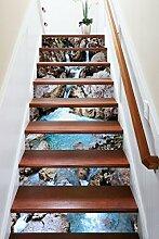 "3D Fluss Stein Landschaft 0433 Stair Risers Dekoration Fototapete Vinyl Aufkleber Tapete DE Carly (15x H:18cm x W:102cm (7""x40""))"