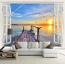 3D Foto Wallpaper Fenster Meerblick Natur