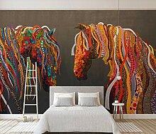 3D Fototapete 3D Effekt Abstrakte Farbige Pferd