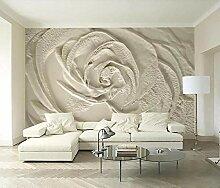 3D Fototapete 3D Effekt Beige Rose Blume Geprägt