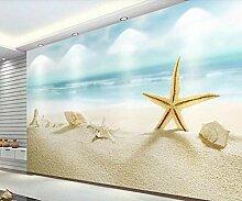 3D Fototapete 3D Effekt Blauer Seestrand Seestern