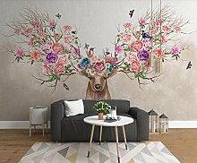 3D Fototapete 3D Effekt Elch Blumen Schmetterling