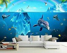 3D Fototapete 3D Effekt Glacier Ocean Dolphin