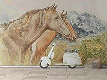 3D Fototapete 3D Effekt Ölgemälde Zwei Pferde