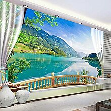 3D Fototapete Balkon Fenster Blauer Himmel Weiße