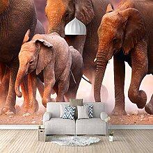 3D Fototapete Elefantengruppe Vlies Wandtapete
