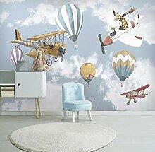 3D-Fototapete für Kinderzimmer Cartoon Flugzeug