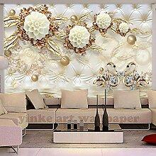 3d fototapete luxus goldene weiße blumen leder tv
