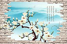3D Fototapete Magnolienblumenbacksteinmauer 280 x