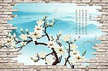 3D Fototapete Magnolienblumenbacksteinmauer 400 x