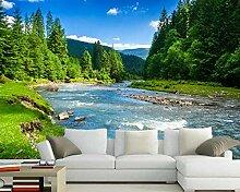 3D Fototapete Montagne und Fluss Natur Landschaft