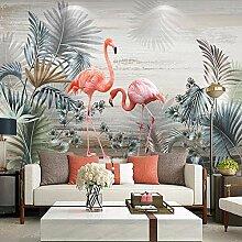 3D Fototapete Pflanze Blätter Flamingo Kunst