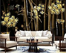 3D -FototapeteRetro Golden Bambus Stimmung