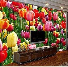 3D-Fototapete Schöne Blumen Wohnzimmer Sofa TV