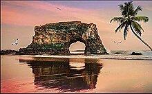 3D-Fototapete Sonnenuntergang Strand Kokosnussbaum
