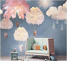 3d Fototapete Vlies Feder, Heißluftballon, Wolken
