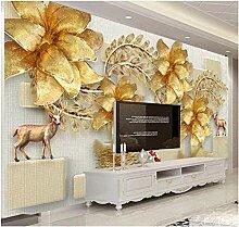 3d Fototapete Vlies Goldfisch mit goldener Blume