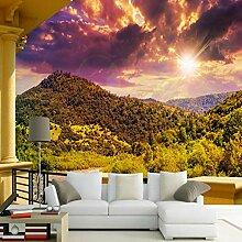 3D Fototapete Wandbild Berg Sonnenuntergang