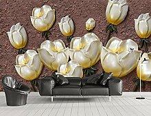 3D Fototapete Wandbild Geprägte Goldene Tulpe