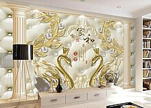 3D Fototapete Wandbild Goldener Schmuck Schwan