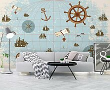 3D Fototapete Wandbild Nordische Seekarte