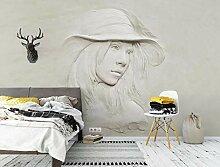 3D Fototapete Wandbild Relief Weiße Charakter