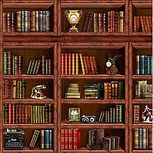 3D Fototapete Wandbilder Vintage Bücherregal