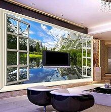 3D Fototapeten Klassische Fenster See Berg Natur